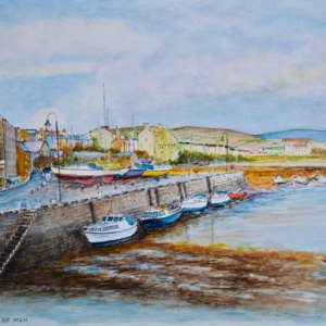 Port St Mary harbour Watercolour