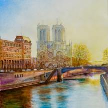 Paris Couche de Soleil Aquarelle