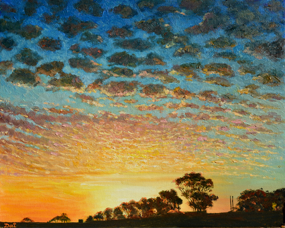 Portland Sunset Number 2 Oil Painting