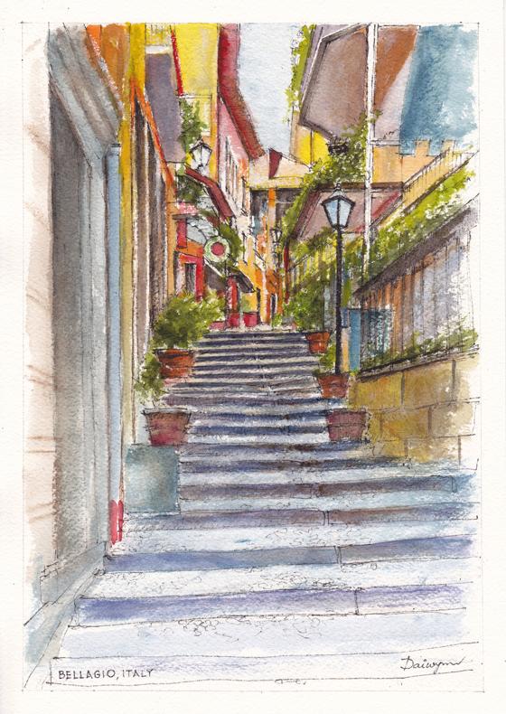 Bellagio Street Aquarelle