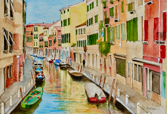 Colourful Canal in Venice