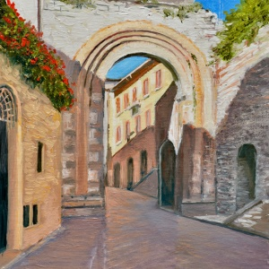 Oil painting of an Assisi Archway in the province of Perugia, Italy
