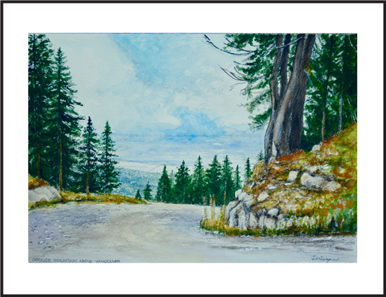 An ink aand watercolour painting of Vancouver from Grouse Mountain.