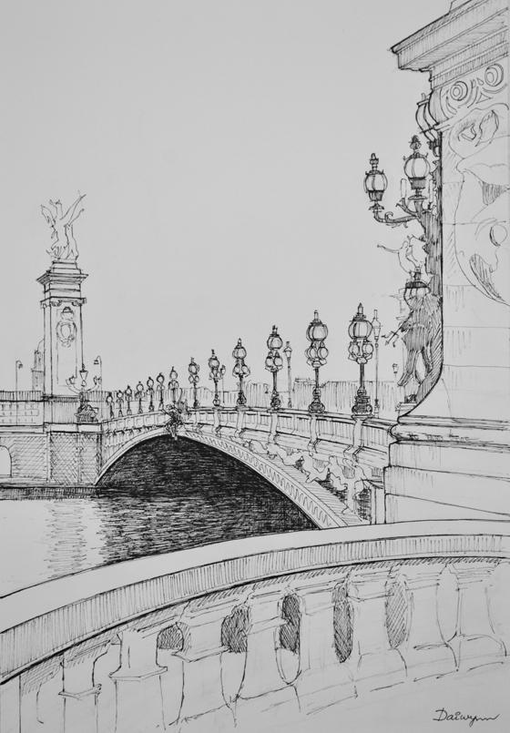 Paris Pont Alexandre 3 ink sketch