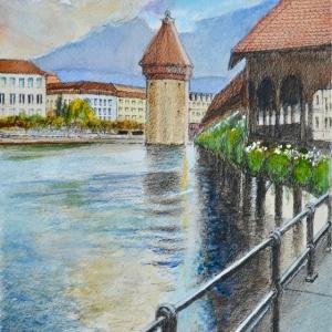 Kapellbrucke Luzern Aquarelle