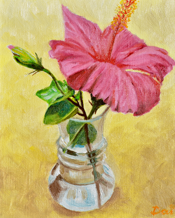 Pink Hibiscus in a Glass Vase