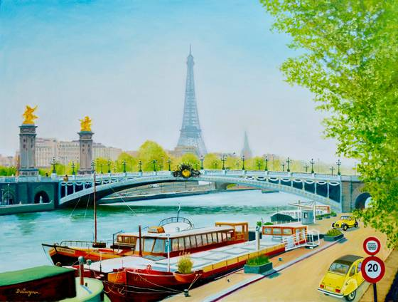 Barges On The Seine - oils on stretched canvas